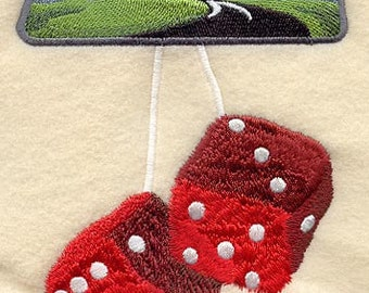 FUZZY DICE- Machine Embroidered Quilt Block (AzEB)