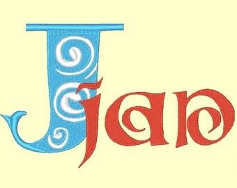 SWIRLS  - 158 Machine Embroidery Font Designs Instant Download 4x4 5x7 6x10 hoop (AzEB)