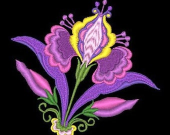 JACOBEAN FLOWERS - 5 Machine Embroidery Designs Instant Download 4x4 5x7 hoop (AzEB)