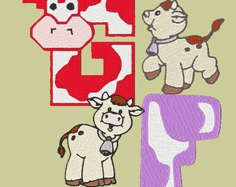 HOLY COW ---202 Machine Embroidery Font Patterns (AzEB)