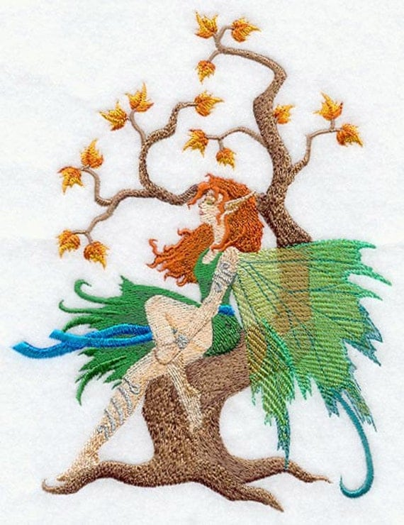 FAIRY AND TREE  - MACHINE EMBROIDERED QUILT BLOCKS (AZEB)