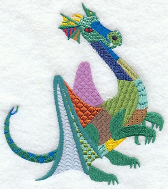Patchwork Dragon Machine Embroidery Quilt Block Azeb