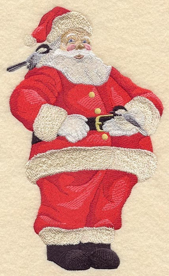 santa and chickadees machine embroidered quilt block azeb