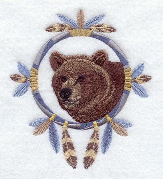 GRIZZLY BEAR DREAM Catcher - Machine Embroidered Quilt Blocks (AzEB)