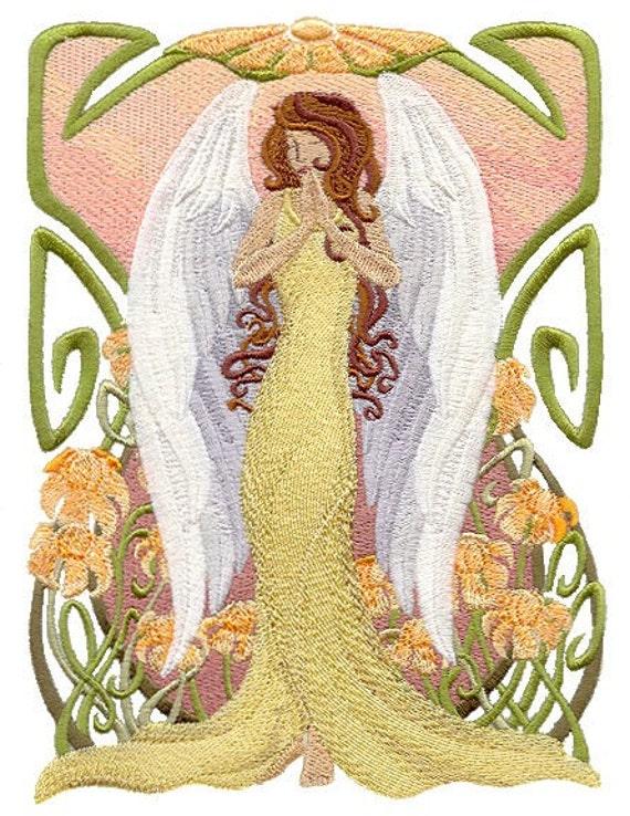 ART NOUVEAU ANGEL Square Machine Embroidery Quilt Block : art nouveau quilts - Adamdwight.com