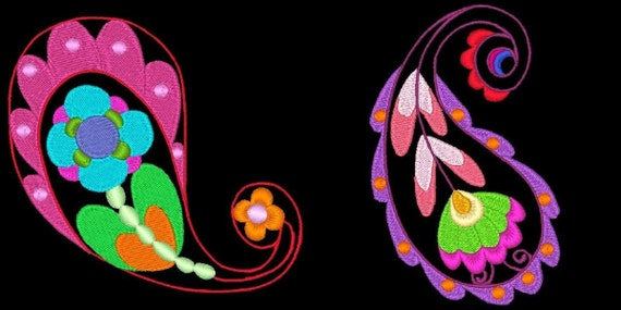 PAISLEY PIZZAZZ - 20 Machine Embroidery Designs Instant Download 4x4 5x7 hoop (AzEB)
