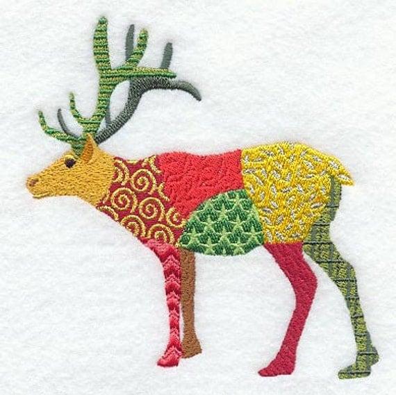 PATCHWORK REINDEER- Machine Embroidered Quilt Block (AzEB)