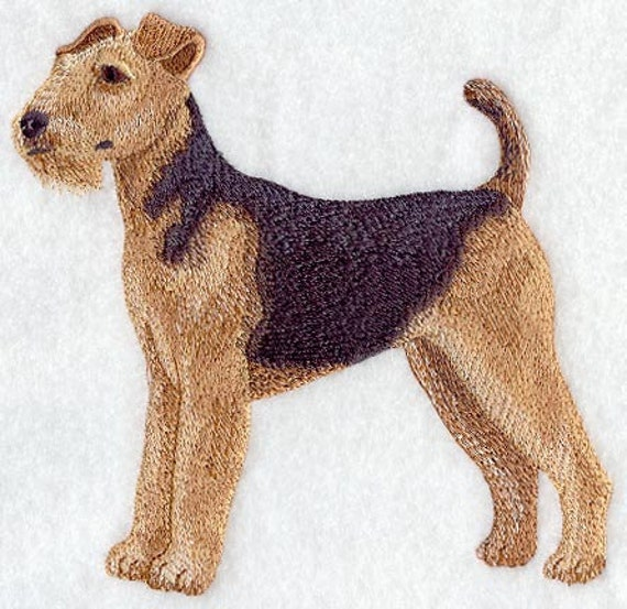 AIREDALE DOG - Machine Embroidered Quilt Blocks (AzEB)