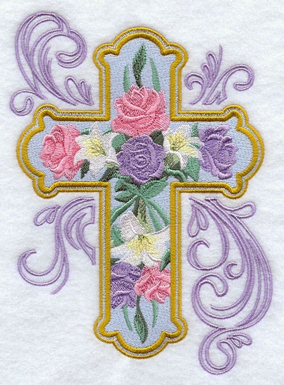 Rose and lily cross machine embroidered quilt blocks azeb for Lily rose designer