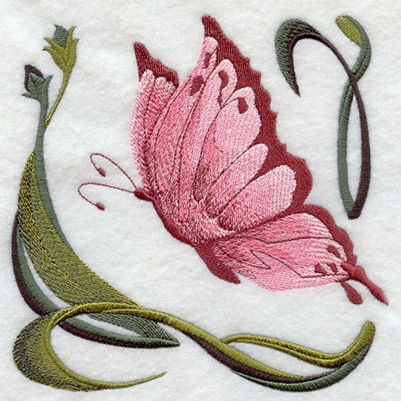 ART NOUVEAU BUTTERFLY 4 - Machine Embroidered Quilt Blocks (AzEB)
