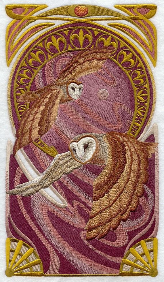 ART NOUVEAU BARN Owl Machine Embroidered Quilt Blocks Azeb : art nouveau quilts - Adamdwight.com