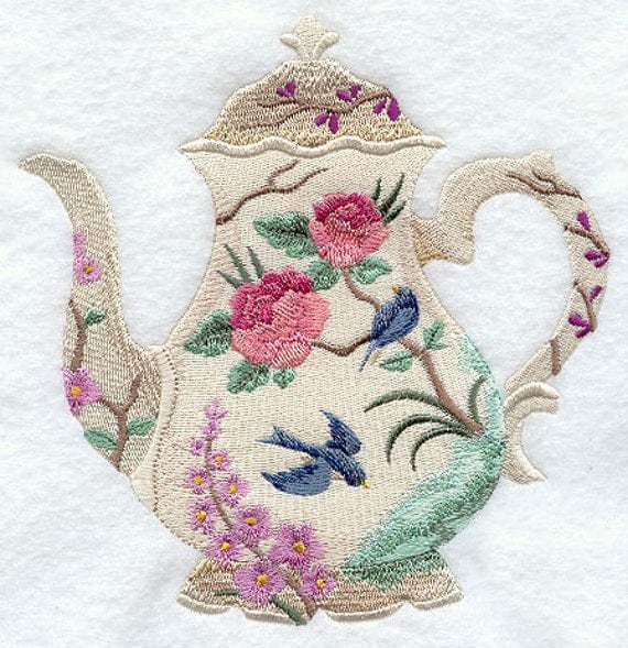 Blooming Beauty Teapot Machine Embroidery Quilt Blocks Azeb
