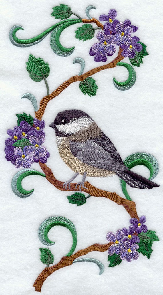 NEW BRUNSWICK Black-Capped Chickadee and Purple Violet Medley - Machine Embroidered Quilt Blocks (Azeb)