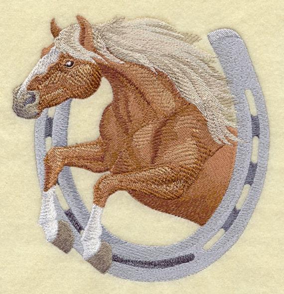 HORSE THRU HORSESHOE Haflinger Style - Machine Embroidery Quilt Blocks (AzEB)
