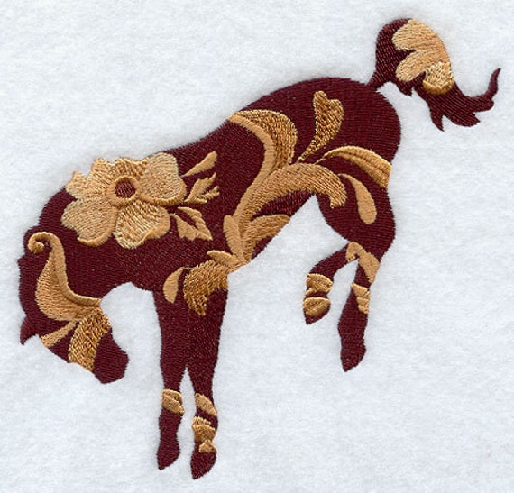 Leather Tooled Bronc Machine Embroidery Quilt Blocks Azeb