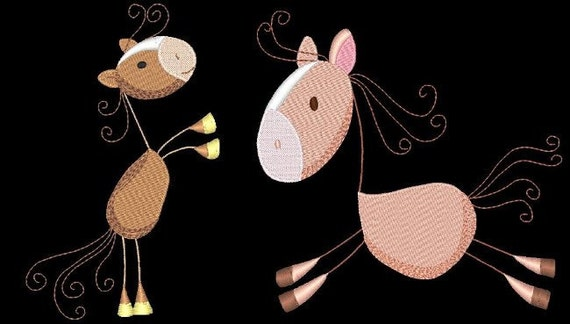 STICKY HORSES Designs - 33 Machine Embroidery Designs Instant Download 4x4 5x7 6x10 hoop (AzEB)