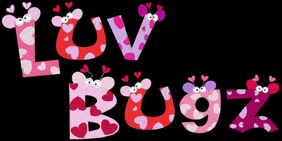 LUV BUGZ  - 72 Machine Embroidery Font Designs Instant Download 4x4 5x7 6x10 hoop (AzEB)