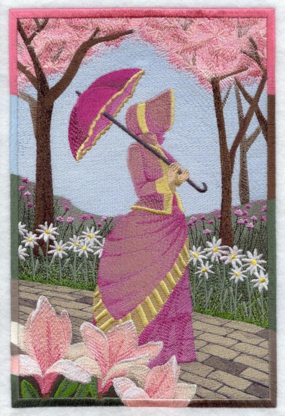 Umbrella Girl Scene Machine Embroidered Quilt Block Azeb
