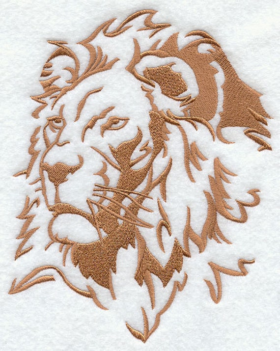 SAFARI LION - Machine Embroidery Quilt Block (AzEB)