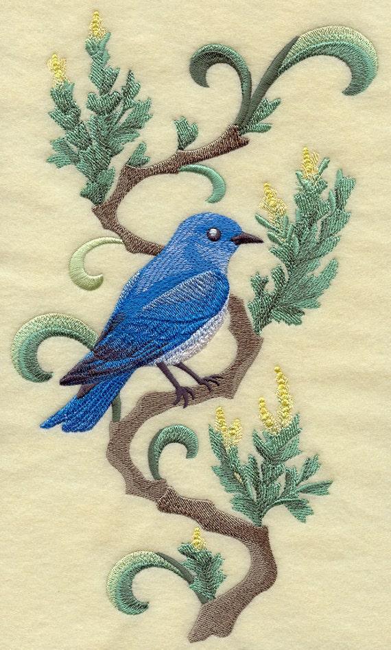 NEVADA MOUNTAIN BLUEBIRD & Sagebrush Medley - Machine Embroidered Quilt Block (AzEB)