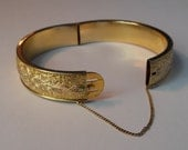 ON RESERVE-- Vintage P. S. Co. yellow and rose gold filled hinged bangle bracelet