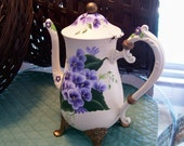 Upcycled Antiqued Hand Painted Flowered Coffee Pot