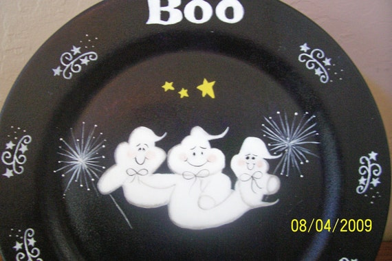 Halloween Hand Painted Ghost Plate