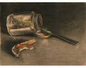 Toast and Marmalade - yummy breakfast art print of sepia charcoal still life drawing