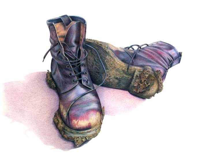 Sale Muddy Boots Art Print Of Color Pencil Drawing Gift