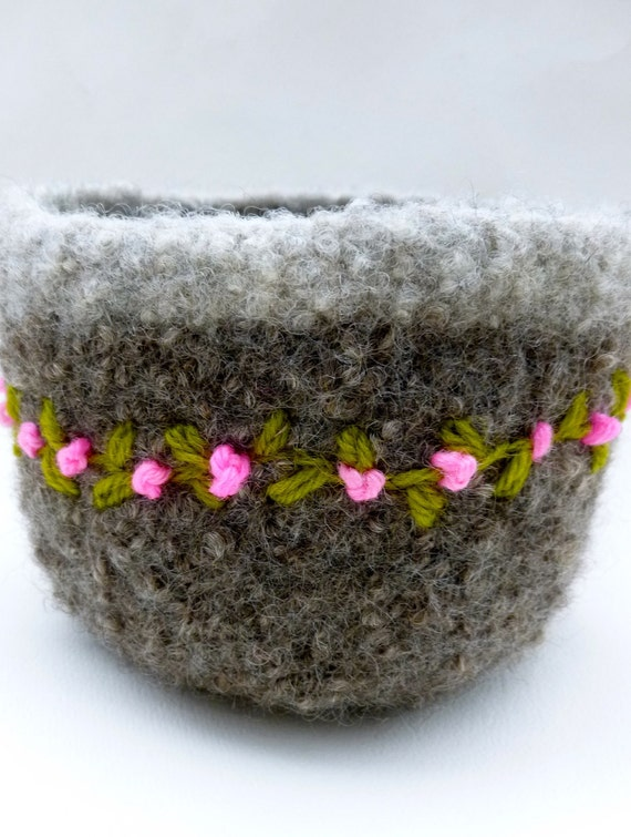 Felted wool bowl with rosebuds dish clothes and felted pot holder and boot cuffs for Harreck