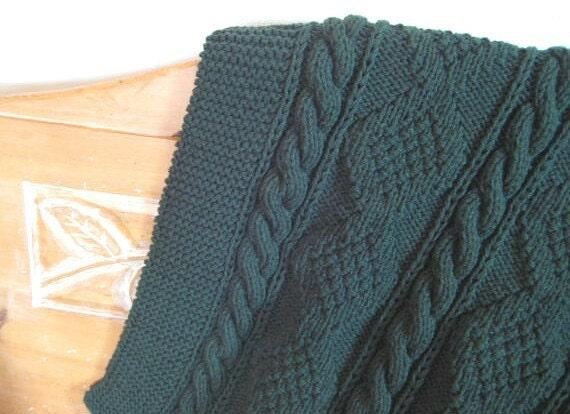 Lap Robe Hand Knit Dark Sage Green 36 X 48 Throw Blanket Wrap
