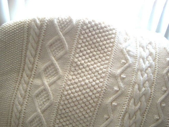 AFGHAN Hand Knit ARAN Off White 57 x 74 Acrylic Micheal