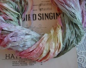 LAST ONE - Hand dyed Meadow Sunrise dazzle ribbon, over 7 yards