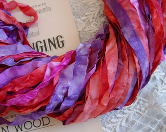 New - Hand Dyed AUTUMNs PASSION ribbon, 5 yards