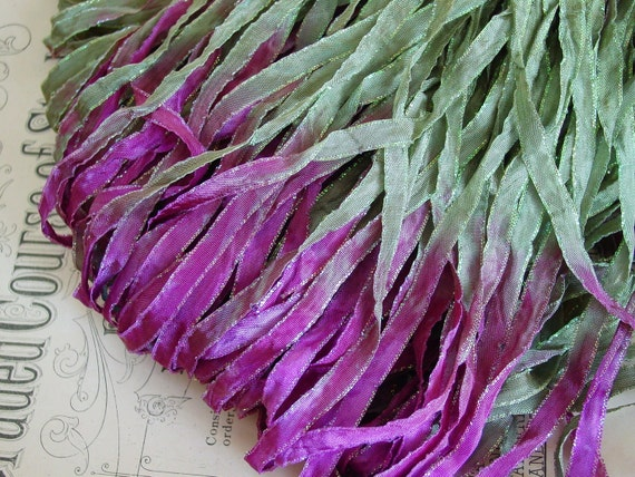 LAST ONE - Hand Dyed Blooming Lilacs glitters ribbon, 5 yards