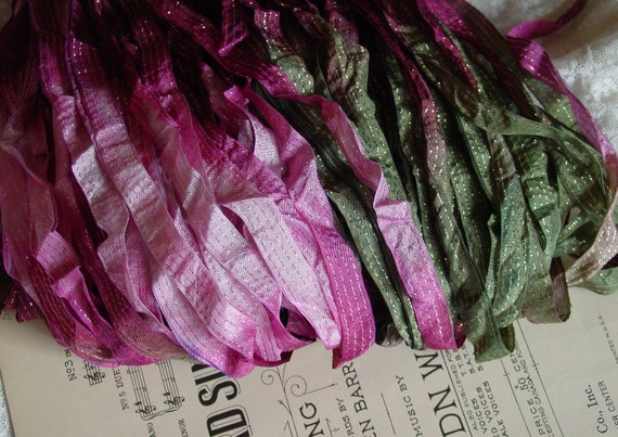 RESERVED Private Listing - LaST One- Hand dyed ribbon -  Gorgeous ROSE THORN dazzle ribbon, 4 yards