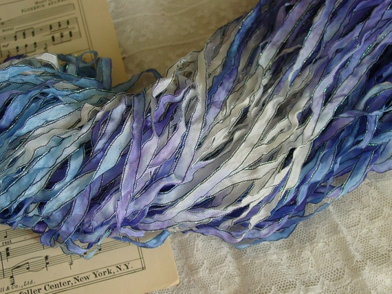 ALMOST GONE - Hand Dyed ribbon - DELPHINIUM ribbon with dark shimmer edge, 4 yards