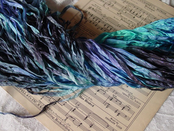 LAST OnE - Hand dyed SEA CAVE dazzle ribbon, 6 yards