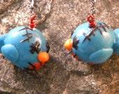 Turquoise Baby Zombie Bird Earrings