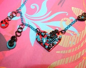 RESERVED // Turquoise Zombie Swirl Candy Red Heart Cameo Necklace