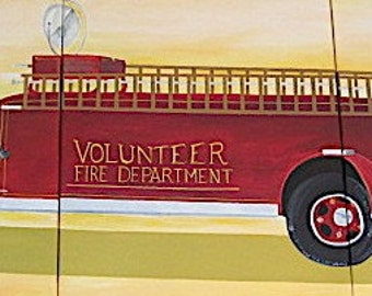 Fire Engine - Original Acrylic Painting - 3 Twenty-Four by Thirty-Six Canvasses