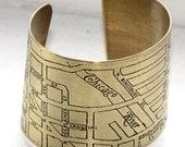 Etched Chicago River West Map Bracelet - Brass