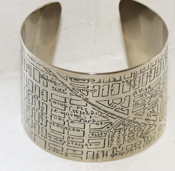 Chicago Wicker Park Map Bracelet - Silver