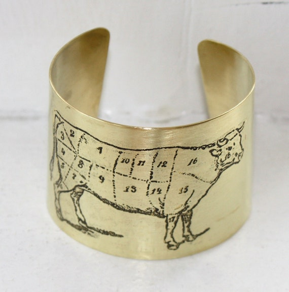 Etched Butchers Diagram Cow Cuff Bracelet  - Brass