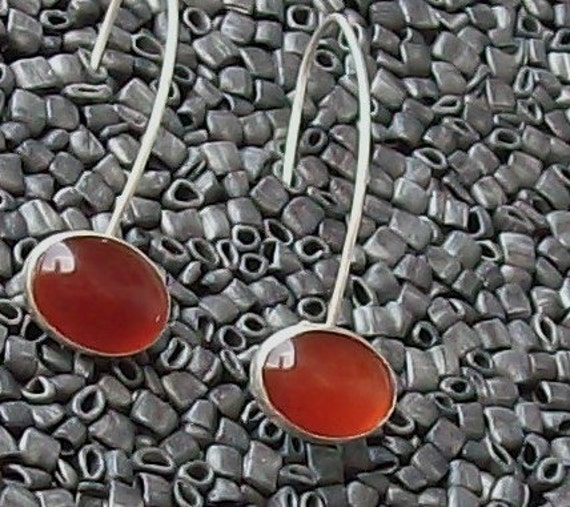 Poppy Red Carnelian and Sterling Drop Earrings