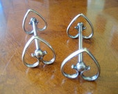 Vintage Silver Plate Heart Knife Rests   Set of 2  Circa 1920s