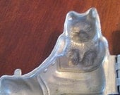 Vintage Pewter Puss N Boots Ice Cream Mold   Circa 1930s
