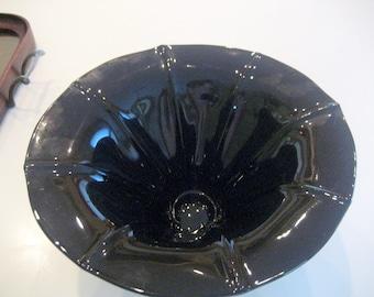 Vintage Black Glass Petunia Vase