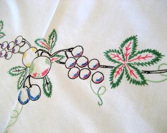 Vintage Linen Christmas Tablecloth  Circa 1940s    64 X 54  Handmade