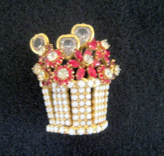 Vintage Dorothy Bauer Basket of Flowers and Hearts  Circa 1980s